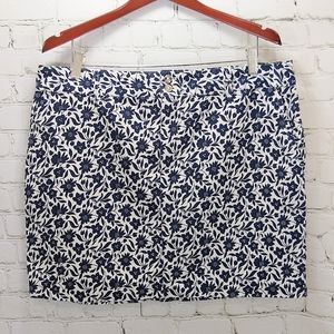 Chaps blue and white floral mini straight skirt